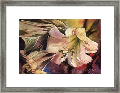 Pink Lilies Framed Print by Alfred Ng
