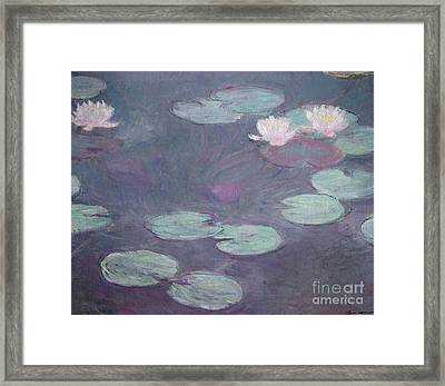 Pink Lilies Framed Print by Claude Monet