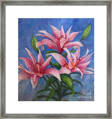 Pink Lilies Framed Print by Terri Maddin-Miller