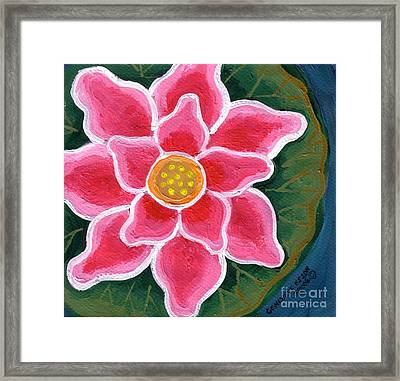 Pink Water Lily Framed Print by Genevieve Esson