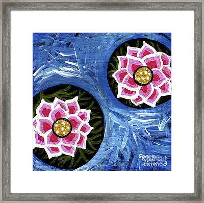 Pink Water Lilies Framed Print by Genevieve Esson