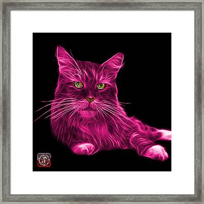 Framed Print featuring the painting Pink Maine Coon Cat - 3926 - Bb by James Ahn