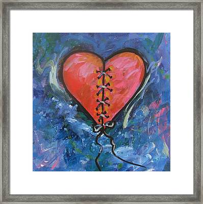 Pink Mended Broken Heart Framed Print by Carol Suzanne Niebuhr