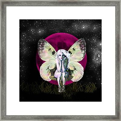 Pink Moon Fairy Framed Print by Diana Shively