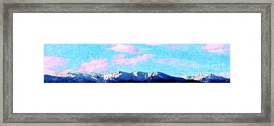 Framed Print featuring the painting Blue Mountains by Ze  Di