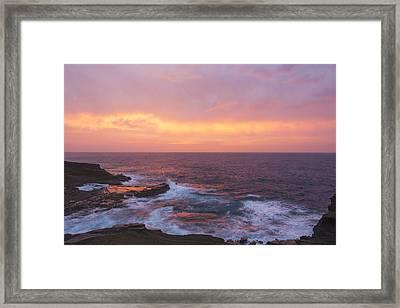 Pink Oahu Sunrise - Hawaii Framed Print by Brian Harig