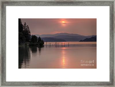 Pink On The Bay Framed Print by Idaho Scenic Images Linda Lantzy