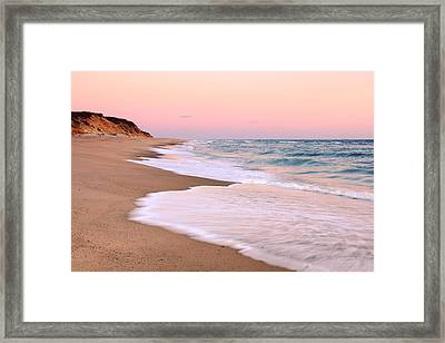 Pink Pastel Beach And Sky Framed Print
