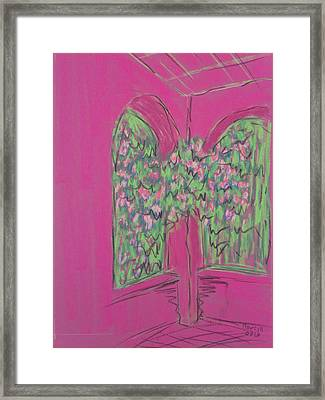 Pink Patio Framed Print by Marcia Meade