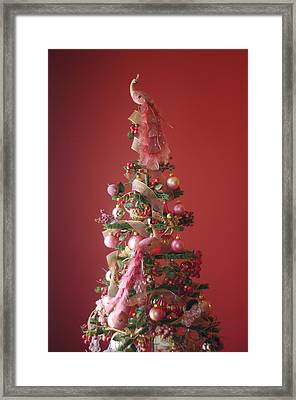 Framed Print featuring the photograph Pink Peacock Christmas Tree by Suzanne Powers