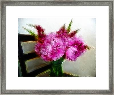 Pink Peonies And Snapdragons In Vase Framed Print by Cindy Wright
