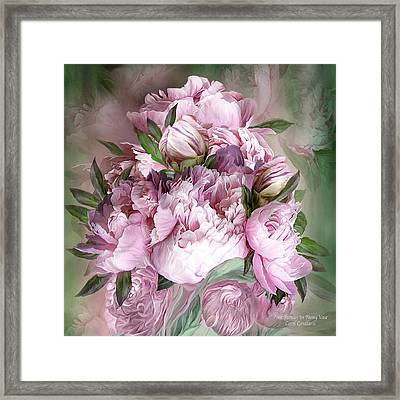 Pink Peonies Bouquet - Square Framed Print
