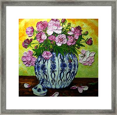 Pink Peonies In A Vase Framed Print by Paris Wyatt Llanso