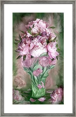 Pink Peonies In Peony Vase Framed Print by Carol Cavalaris