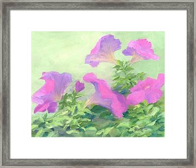 Pink Petunias Beautiful Flowers Art Colorful Original Garden Floral Flower Artist K. Joann Russell  Framed Print