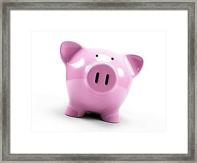 Pink Piggy Bank Framed Print