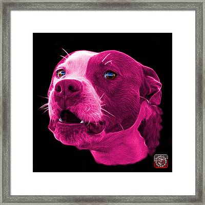Framed Print featuring the mixed media Pink Pitbull Dog 7769 - Bb - Fractal Dog Art by James Ahn