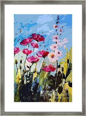 Pink Poppies Hollyhock And Bees Framed Print by Ginette Callaway