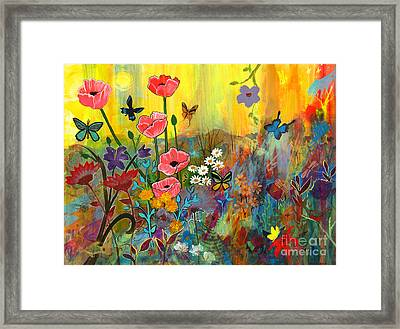 Framed Print featuring the painting Pink Poppies In Paradise by Robin Maria Pedrero