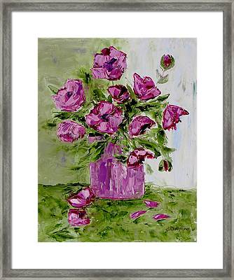 Pink Poppies In Pink Vase Framed Print