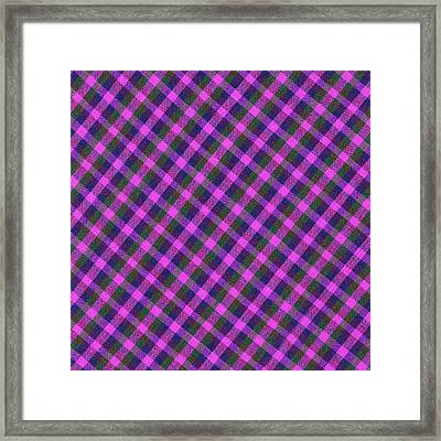 Pink Purple And Green Diagonal Plaid Textile Background Framed Print by Keith Webber Jr