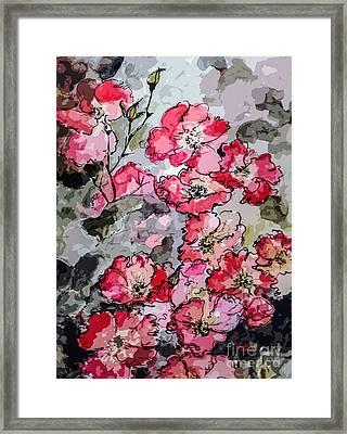 Pink Rambling Roses Modern Mixed Media Framed Print