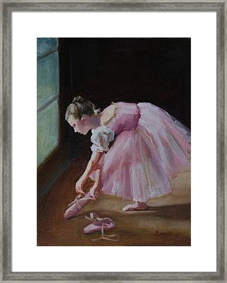 Pink Ribbons Framed Print by Roseann Munger