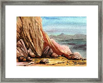 Framed Print featuring the painting Pink Rocks by Mikhail Savchenko