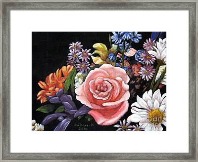 Pink Rose Floral Painting Framed Print by Judy Filarecki