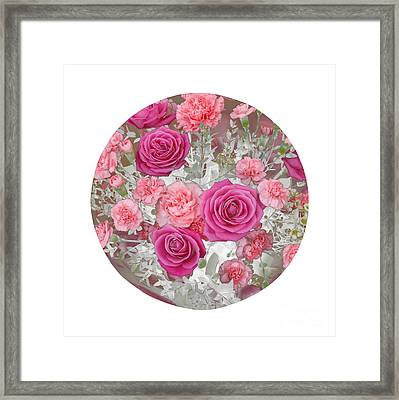 Pink Roses And Carnations In Circle Framed Print by Rosemary Calvert