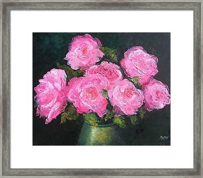 Pink Roses In A Brass Vase Framed Print