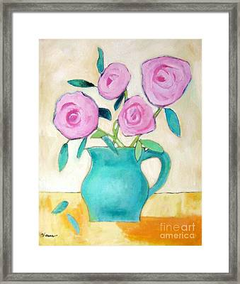 Pink Roses In A Green Vase Framed Print by Venus