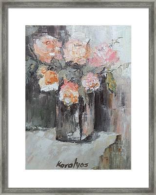 Pink Roses In A Vase Framed Print by Maria Karalyos
