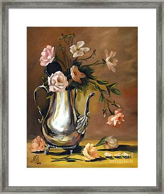 Pink Roses Framed Print by Nancy Bradley