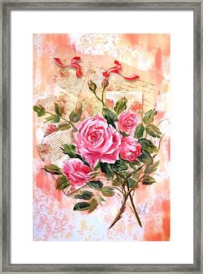Pink Roses On Vintage Letters Framed Print