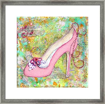Pink Shoes With Mixed Media Background Framed Print