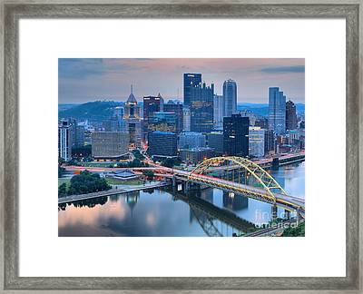 Pink Skies And Pittsburgh Skyscrapers Framed Print