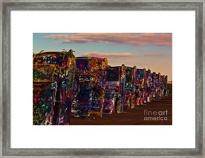 Pink Sky At Cadillac Ranch Framed Print