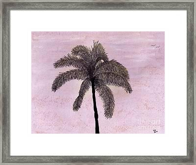 Pink - Sky - Palm Framed Print
