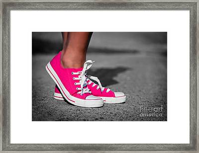 Pink Sneakers  Framed Print by Michal Bednarek