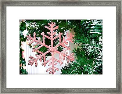 Pink Snowflake Framed Print by Audreen Gieger-Hawkins