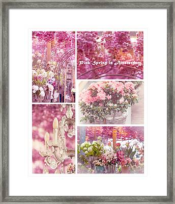 Pink Spring In Amsterdam. Flower Market Framed Print by Jenny Rainbow