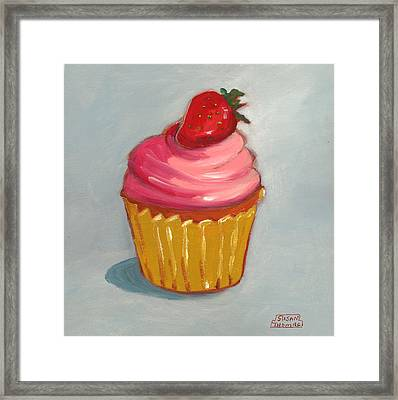 Pink Strawberry Cupcake Framed Print by Susan Thomas
