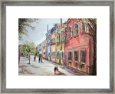 Framed Print featuring the painting Pink Street by Becky Kim