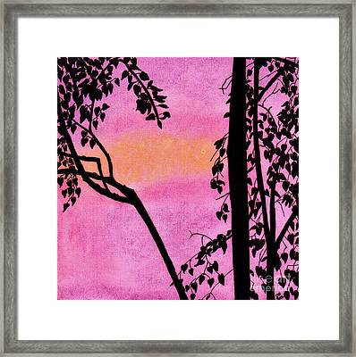 Framed Print featuring the drawing Pink Sky Sunset by D Hackett