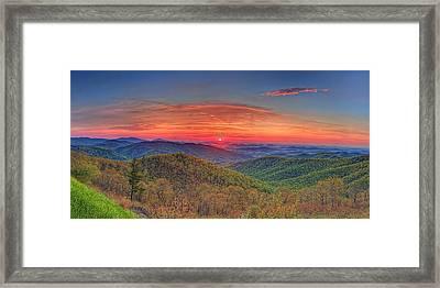 Pink Sunrise At Skyline Drive Framed Print