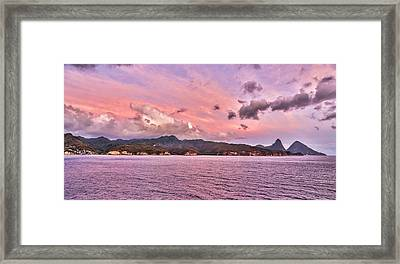 Pink Sunset Cast On The Pitons In St. Lucia Framed Print