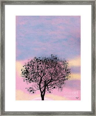 Framed Print featuring the drawing Pink Sunset by D Hackett