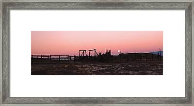 Pink Sunset Over Corral Framed Print by Cathy Anderson