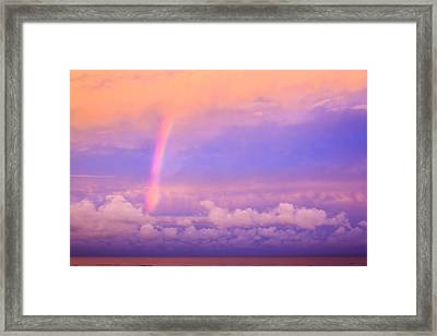 Framed Print featuring the photograph Pink Sunset Rainbow by Peta Thames